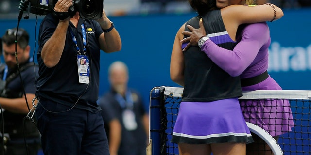 Serena Williams congratulated Bianca Andreescu after losing to Andreescu in the women's singles final of the U.S. Open tennis championships.