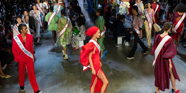 "In the NYFW presentation, which marked the 10th anniversary of his eponymous brand's showing, Gurung hoped to examine ""the root of American identity."""