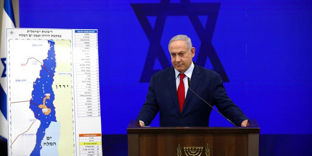 Israeli Prime Minister Benjamin Netanyahu during a press conference in Tel Aviv, Israel, Tuesday, Sept. 10, 2019.