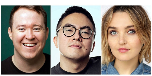"This combination of photos released by NBC shows, from left, Shane Gillis, Bowen Yang and Chloe Fineman who will join the cast of ""Saturday Night Live,"" premiering its 45th season on Sept. 28. Gillis will no longer join the cast."