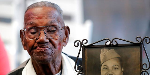 Lawrence Brooks, believed to be the oldest American veteran of World War II, celebrated his 110th birthday at the National World War II museum in New Orleans, La., on Thursday.
