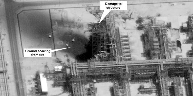 This image provided on Sunday, Sept. 15, 2019, by the U.S. government and DigitalGlobe and annotated by the source, shows damage to the infrastructure at Saudi Aramco's Kuirais oil field in Buqyaq, Saudi Arabia. The drone attack Saturday on Saudi Arabia's Abqaiq plant and its Khurais oil field led to the interruption of an estimated 5.7 million barrels of the kingdom's crude oil production per day, equivalent to more than 5 percent of the world's daily supply.