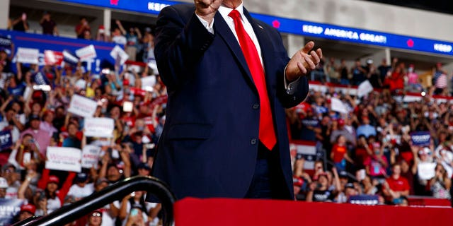 President Donald Trump arrives to speak at a campaign rally at the Santa Ana Star Center, Monday, Sept. 16, 2019, in Rio Rancho, N.M. (AP Photo/Evan Vucci)