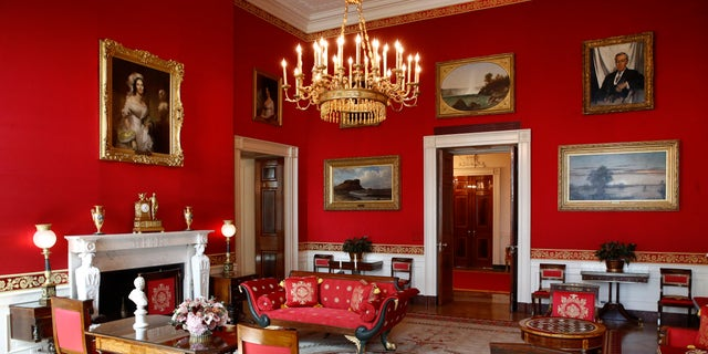 """Sunlight streaming into the Red Room had left wall fabric """"so faded it was almost pink,"""" said Stewart McLaurin, president of the White House Historical Association."""