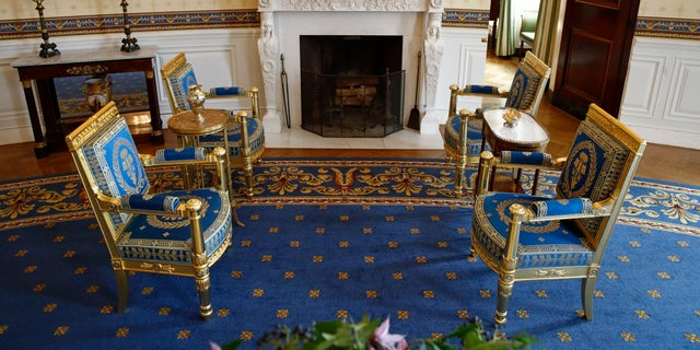 This photo shows restored furniture in the Blue Room of the White House in Washington. The project was started by former first lady Michelle Obama.