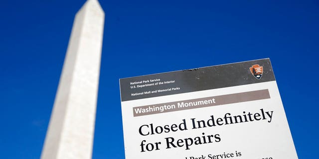 The newly renovated elevator inside the Washington Monument briefly broke down on Saturday, park officials said.