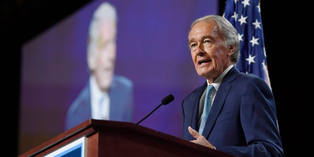 FILE - In this Saturday, Sept. 14, 2019 file photo, U.S. Sen. Edward Markey speaks to delegates during the 2019 Massachusetts Democratic Party Convention, in Springfield, Mass.  (AP Photo/Jessica Hill, File)