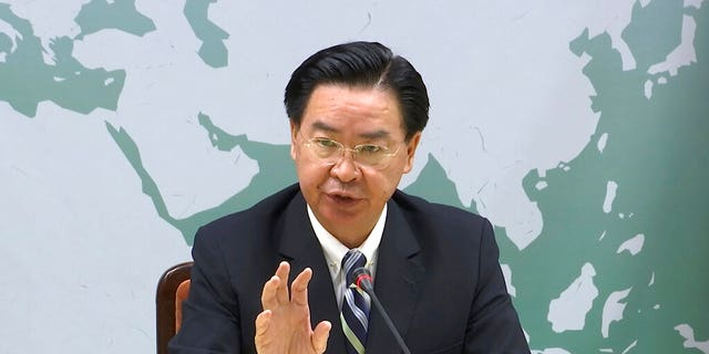 Taiwan's Foreign Minister Joseph Wu explains that Kiribati has officially notified his government that they were severing diplomatic ties with the island, Friday, Sept. 20, 2019, in Taipei, Taiwan. Kiribati's severing of ties with Taiwan is the second such loss for the diplomatically isolated island in less than a week.