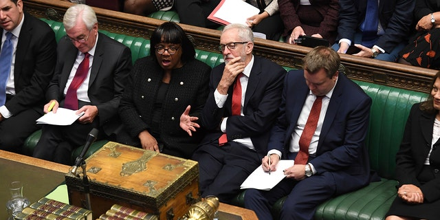 In this handout photo provided by the House of Commons, Britain's Labour party leader Jeremy Corbyn looks on in Parliament in London, Wednesday, Sept. 25, 2019.