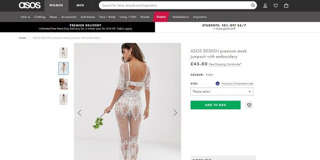 The embroidered jumpsuit has full-length legs and sleeves that fall to the elbow and is certainly for the edgier bride.