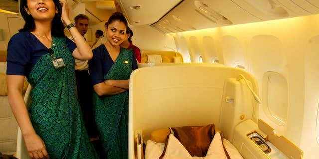 """Air India says the meals were designed to help keep its flight attendants, some of whom are seen here in a 2007 photo, """"healthy and fit."""""""