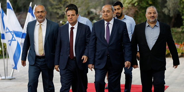 Members of the Joint List, from left to right, Osama Saadi, Ayman Odeh, Ahmad Tibi and Mansour Abbas in Jerusalem on Sunday.