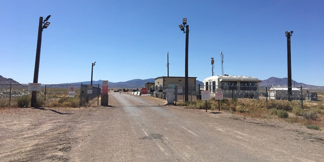 "The so-called ""back gate"" to Area 51, located off a dirt road just outside of Rachel, Nev."
