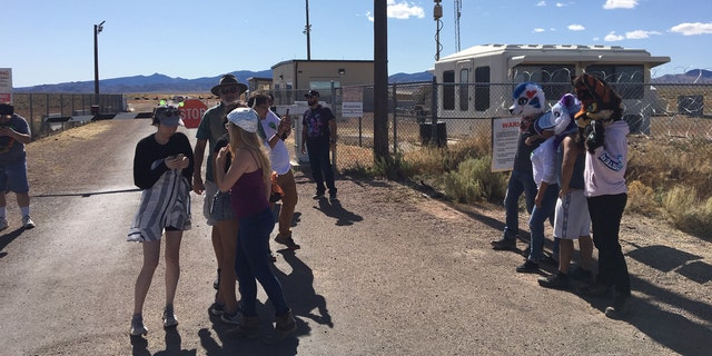 The scene Friday afternoon outside the back gate to Area 51 in Rachel, Nev.