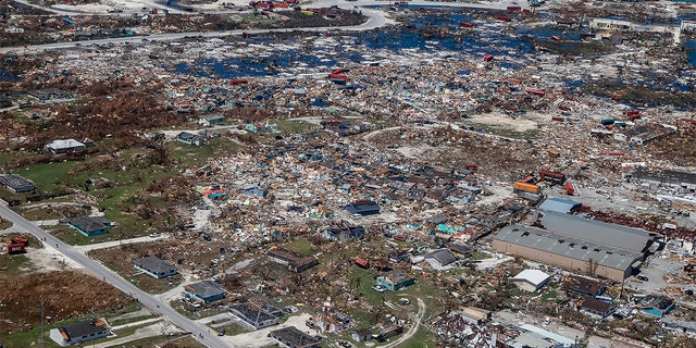 An aerial view of floods and damages from Hurricane Dorian on Freeport, Grand Bahama on September 5, 2019. (ADAM DELGIUDICE/AFP/Getty Images)