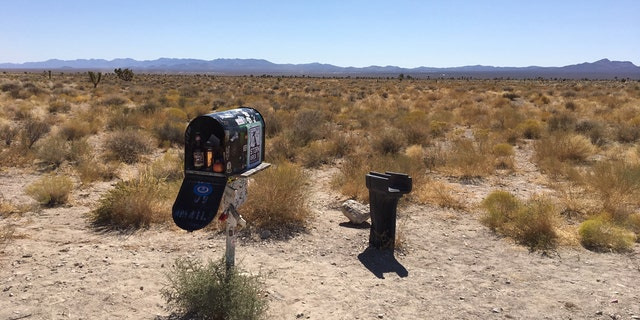 """The """"Black Mailbox"""" along Nevada State Route 375."""