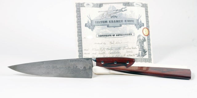 Bourdain's custom Bob Kramer steel and meteorite chef's knife is expected to fetch between $4,000 and $6,000.