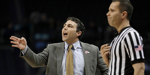 FILE - In this March 12, 2019, file photo, Georgia Tech head coach Josh Pastner, left, directs his team against Notre Dame during the first half of an NCAA college basketball game in the Atlantic Coast Conference tournament, in Charlotte, N.C. (AP Photo/Nell Redmond, File)