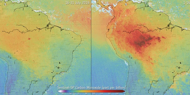 Using data from Copernicus Sentinel-5P, the image shows the difference in carbon monoxide in the air between July 2019 and August 2019 over the Amazon.