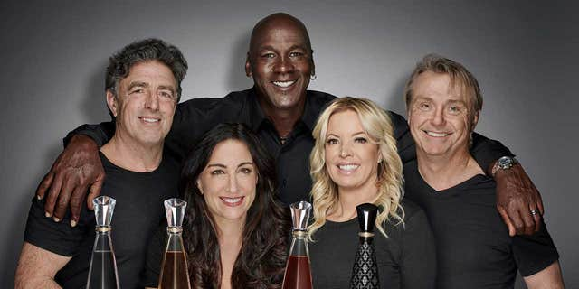 Jordan, seen here with co-founders (L-R) Wyc Grousbeck, Emilia Fazzalari, Jeanie Buss and Wes Edens, reportedly embarked on the venture after discovering a shared love of tequila.