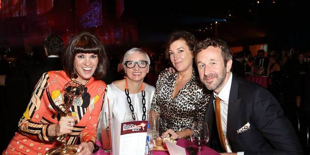 Dawn O'Porter, left, Donna French, Nina Gold and Chris O'Dowd, winner of the State of the Union Award for Outstanding Comedy or Short Drama, attend the Governor's Ball at night 2 at the 2019 Creative Arts Emmy Awards Television Academy last Sunday in LA
