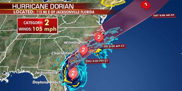 The forecast track of Hurricane Dorian.