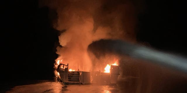 "The Conception was ""entirely engulfed with flames"" when the U.S. Coast Guard arrived on scene Monday."