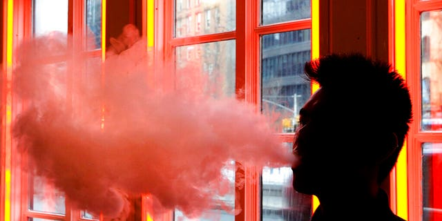 FILE - In this Feb. 20, 2014, file photo, a patron exhales vapor from an e-cigarette at a store in New York. (AP Photo/Frank Franklin II, File)
