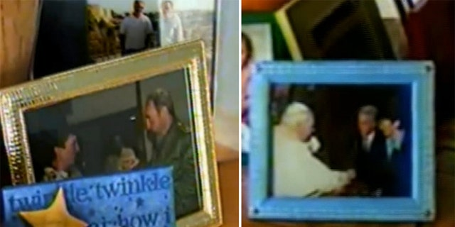 The photo on the left appeared to show Ghislaine Maxwell and Fidel Castro, with the picture on the right showing Epstein and Maxwell with Pope John Paul II.