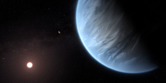 Artist's impression of exoplanet K2-18b showing the planet, its host star and an accompanying planet.