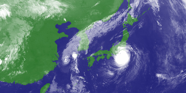Typhoon Faxai can be seen approaching eastern Japan on Sunday.