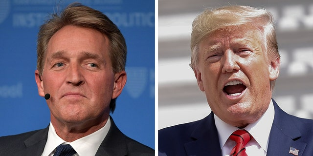 "Former Arizona Sen. Jeff Flake, in an op-ed published in The Washington Post titled ""Fellow Republicans, there's still time to save your souls,"" made the case for President Trump's impeachment. (Getty-AP)"