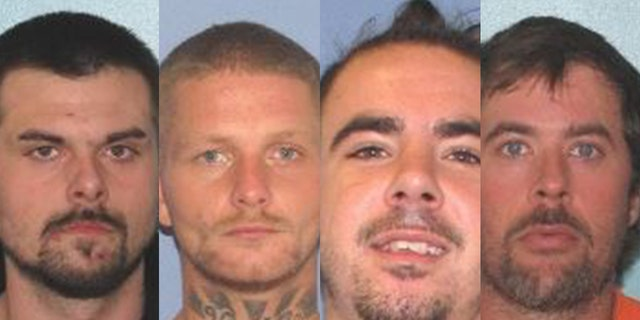 Mugshots show, left to right, Lawrence Lee, 29; Troy McDaniel, 30; Christopher Clemente, 24; and Brynn Martin, 40. The four inmates escaped from the Gallia County Jail early Sunday after overpowering two female guards, investigators said.