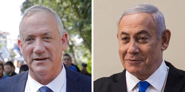 Exit polls indicated Israel's Prime Minister Benjamin Netanyahu, right, fell short of securing a parliamentary majority with his hard-line allies in Tuesday's elections, amid a strong challenge fromBenny Gantz's centrist party.