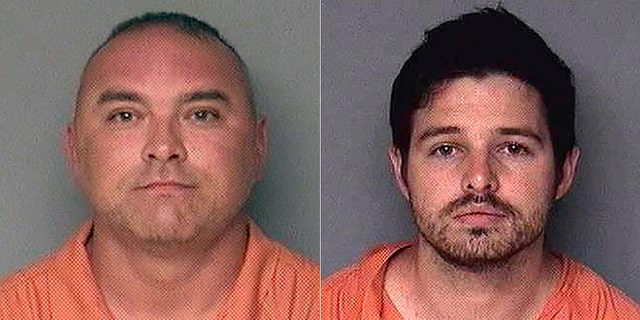 Mug shots for Gary Demercurio, left, and Justin Wynn.