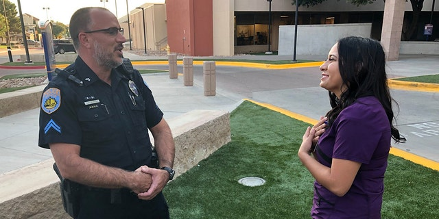 On Sept. 3, Odessa Police Corporal Gary Potter and Bria Montes got to meet for the first time, sharing a hug and emotional conversation outside the hospital.
