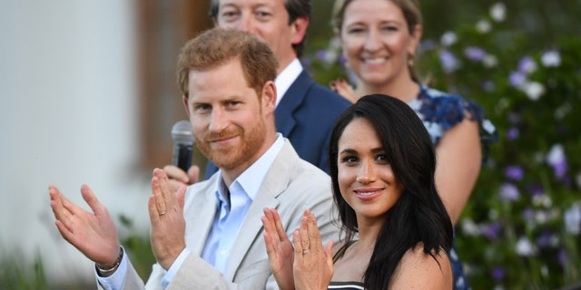 Prince Harry, Duke of Sussex and Meghan, Duchess of Sussex attend a reception for young people, community and civil society leaders at the Residence of the British High Commissioner, during the royal tour of South Africa on September 24, 2019, in Cape Town, South Africa.