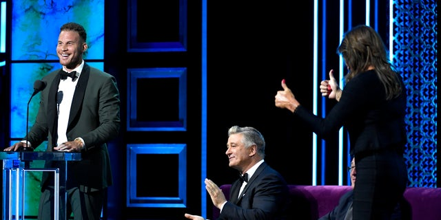 From left: Blake Griffin, Alec Baldwin and Caitlyn Jenner are seen onstage at the Comedy Central Roast of Alec Baldwin at Saban Theatre on September 07, 2019 in Beverly Hills, Calif. (Photo by Kevork Djansezian/VMN19/Getty Images for Comedy Central)