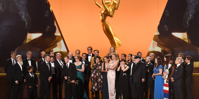 Cast and crew of 'Game of Thrones' accept the Outstanding Drama Series award onstage during the 71st Emmy Awards at Microsoft Theater on September 22, 2019 in Los Angeles, California. (Photo by Kevin Winter/Getty Images)
