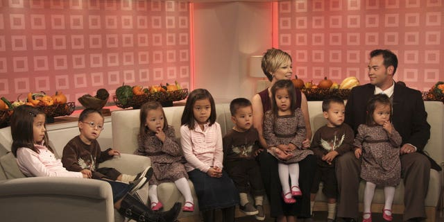 "Pictured: (l-r) Kate Gosselin and John Gosselin talk about their twin daughters and sextuplets on NBC News' ""Today"" on October 2, 2007"