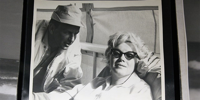 Auction item photograph of Marilyn Monroe (R) and Frank Sinatra is displayed at Bonhams and Butterfields on June 12, 2009, in Los Angeles, California.
