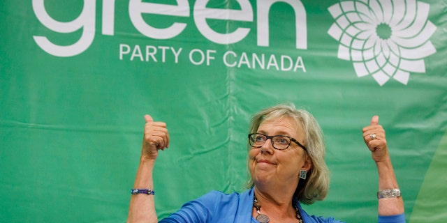 In this Sept. 3, 2019 photo, Green Party of Canada leader Elizabeth May speaks during a fireside chat about the climate, in Toronto.