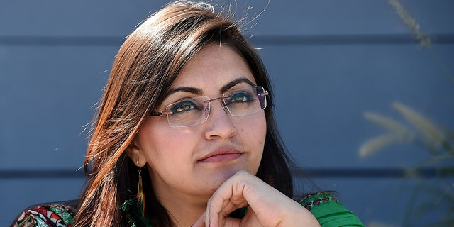 Pakistani dissident and feminist Gulalai Ismail poses during a photo session before an interview with the AFP in Washington, D.C., on Thursday.