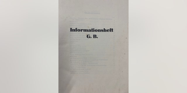 """Informationsheft (Information booklet) G.B 106"" was prepared for the Gestapo to be distributed to invasion forces. (Henry Aldridge and Son)"
