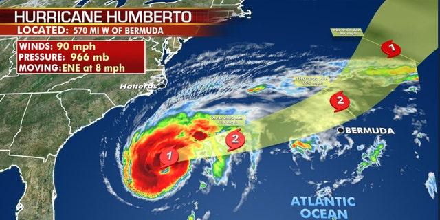The forecast track of Hurricane Humberto.