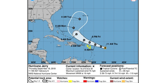 Hurricane Jerry's cone and probably path as of Thursday 11a.m. EST