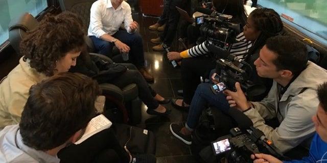 Buttigieg engages with a press. (Mitti Hicks/Fox News)
