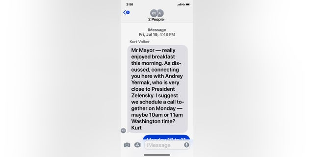 Picture of a text message interview in July between US diplomat Kurt Volker and Trump's lawyer, Rudy Giuliani.