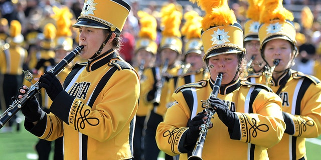 Members of the Hawkeye Marching Band play before a game between Iowa and Rutgers earlier this season. (Photo by Keith Gillett/Icon Sportswire via Getty Images)