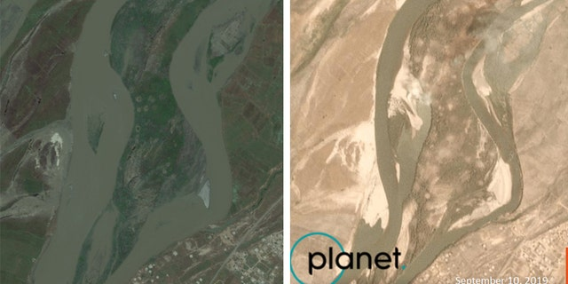 Qanus Island in Iraq as seen in May 2019 prior to the U.S. airstrike on Sept. 10, and a satellite image showing the island after the strike that day. (Satellite images courtesy of Wim Zwijnenburg and Planet Labs, Inc.)